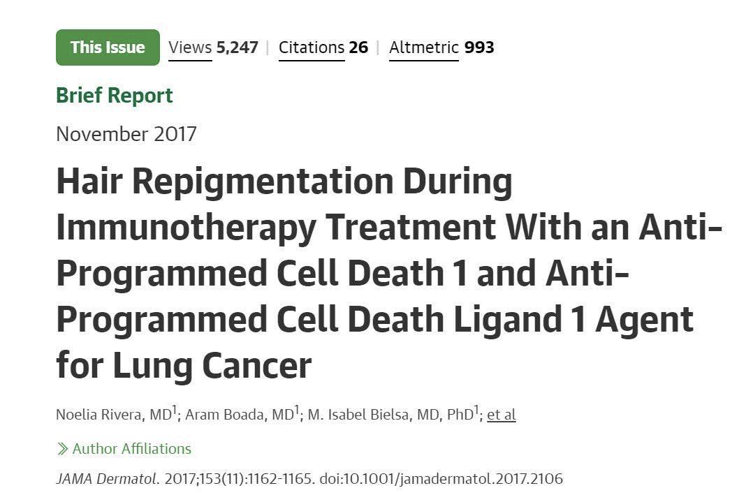 从头发变黑说起——带你认识肿瘤抗PD-1/PD-L1免疫治疗的副反应
